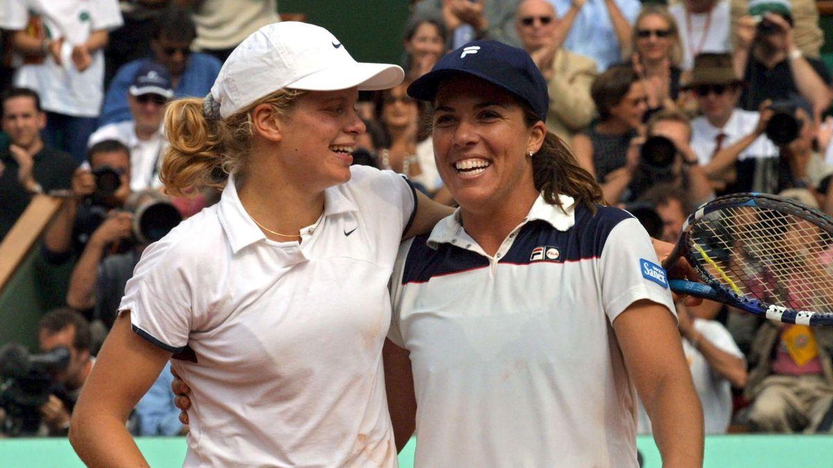 Clijsters és Capriati remekül elkapott pillanata