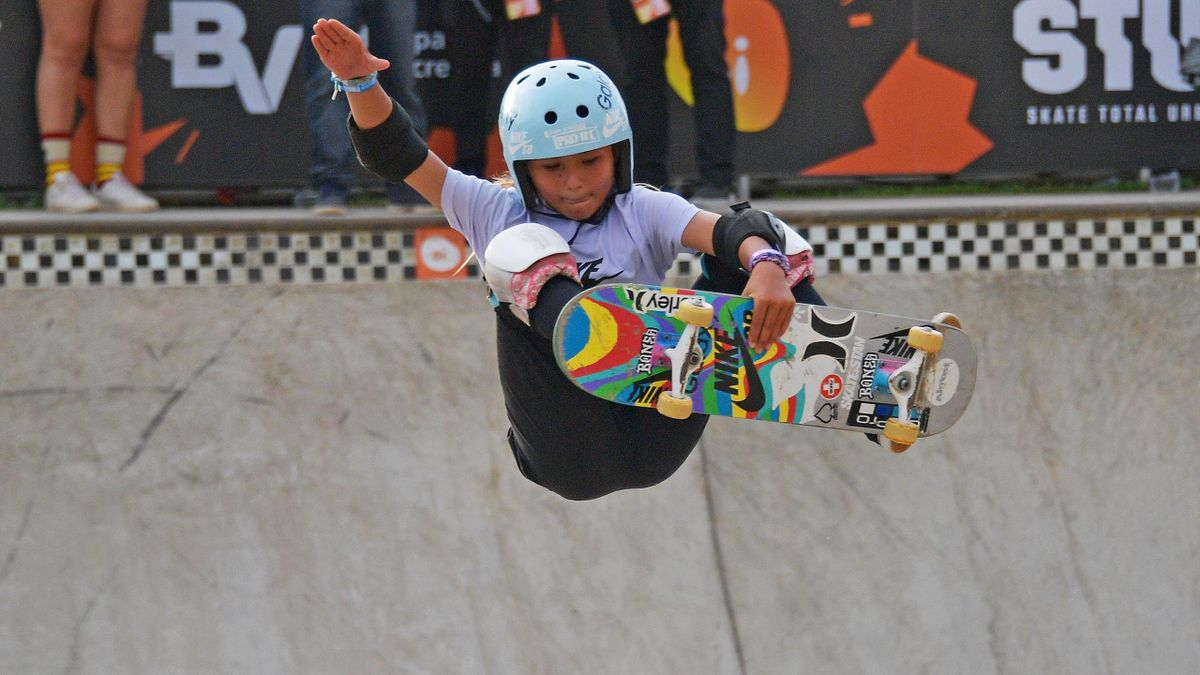 11 year old Sky Brown competes in the finals of the World Park Skateboarding Championship in Sao Paulo on September 14, 2019. - Brown is hoping to compete as part of the British Olympic team in Skateboarding in Tokyo 2020. The championships in Brazil will