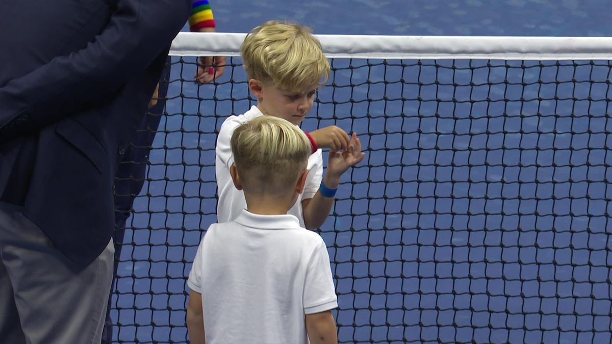 US Open - Day 3 - Kids toss for the game betwen Gauff and Stevens