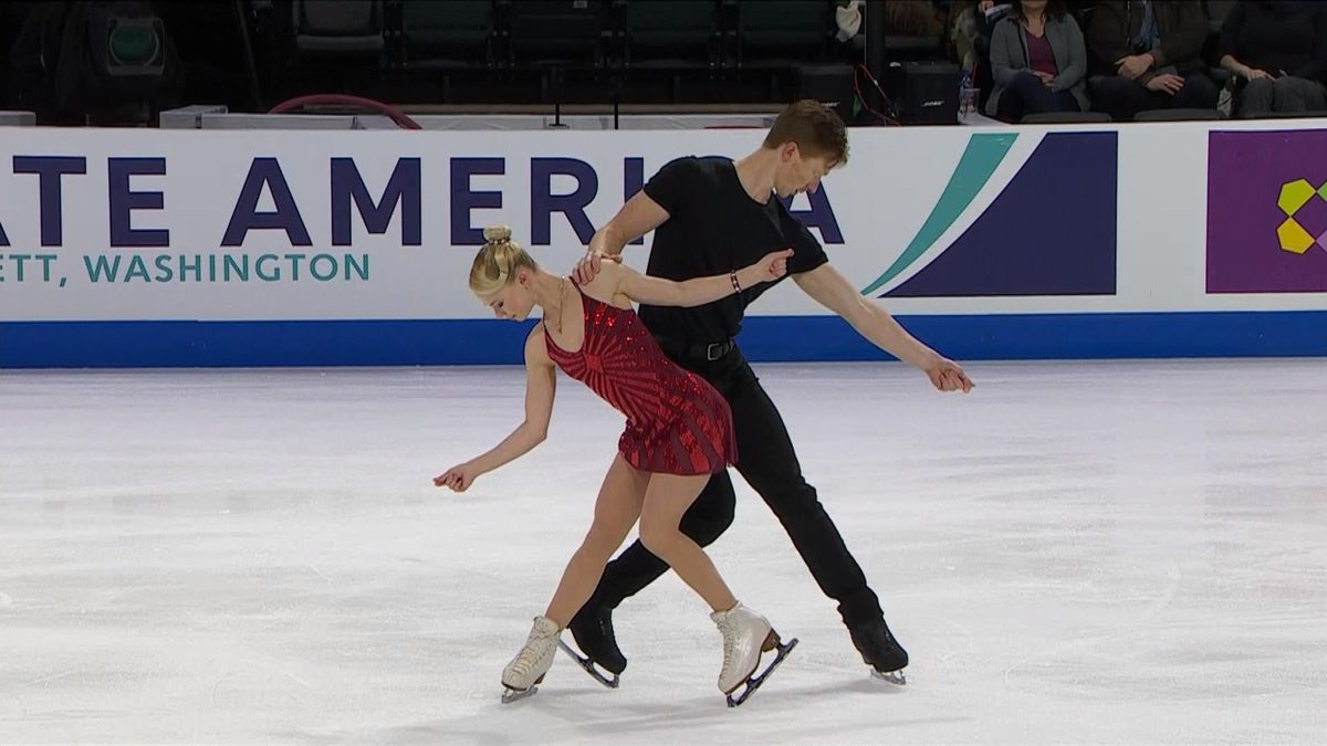 Skate America pair Short program: Tarasova/Morozov (RUS)