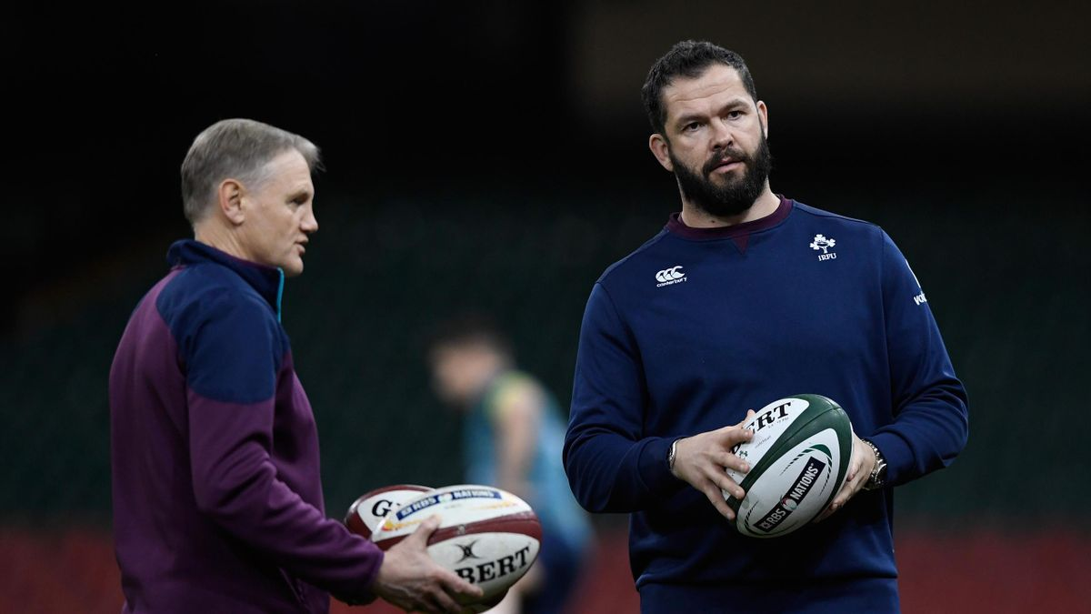 Ireland coach Joe Schmidt (l) with his defence coach Andy Farrell during Ireland captain's run ahead of their RBS Six Nations match against Wales at Principality Stadium on March 9, 2017 in Cardiff, Wales.