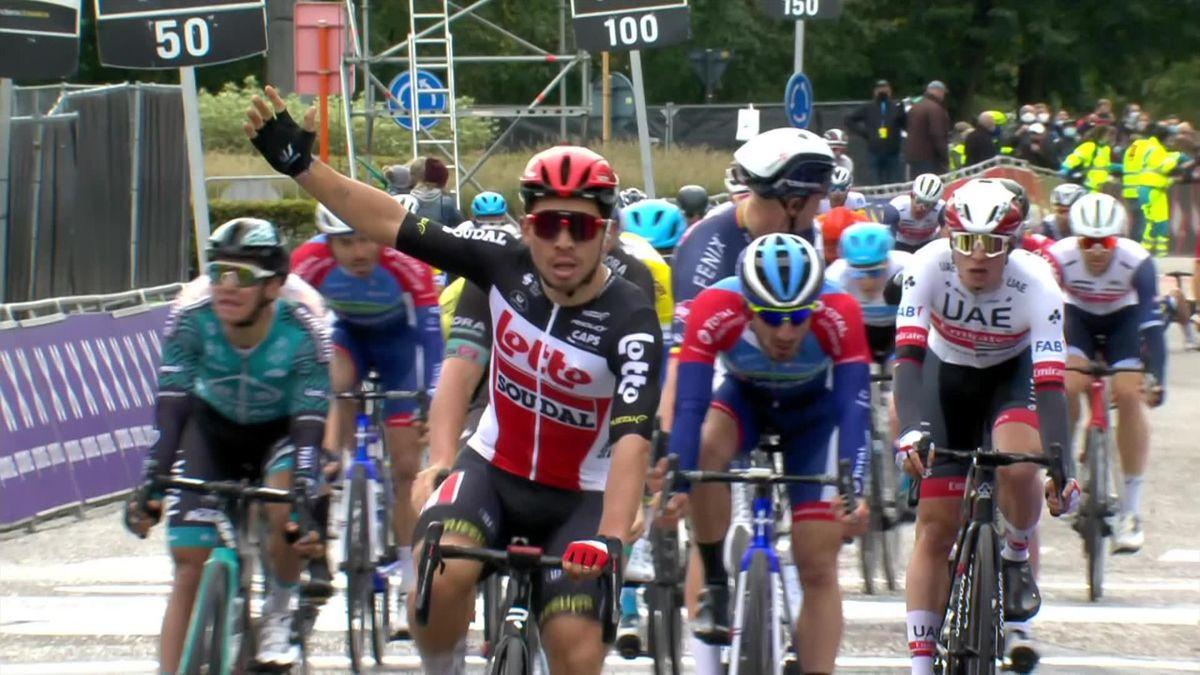 Scheldeprijs: finish - winner Caleb Ewans + Crash