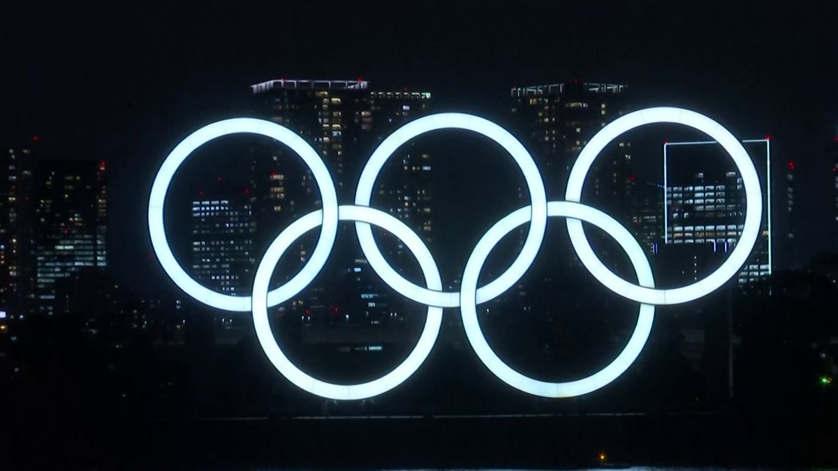 Olympic rings light up Tokyo Bay