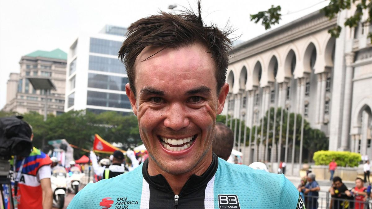 Travis McCabe of Floyd's Pro Cycling celebrates victory after winning Stage 3 of the 24th Le Tour de Langkawi.