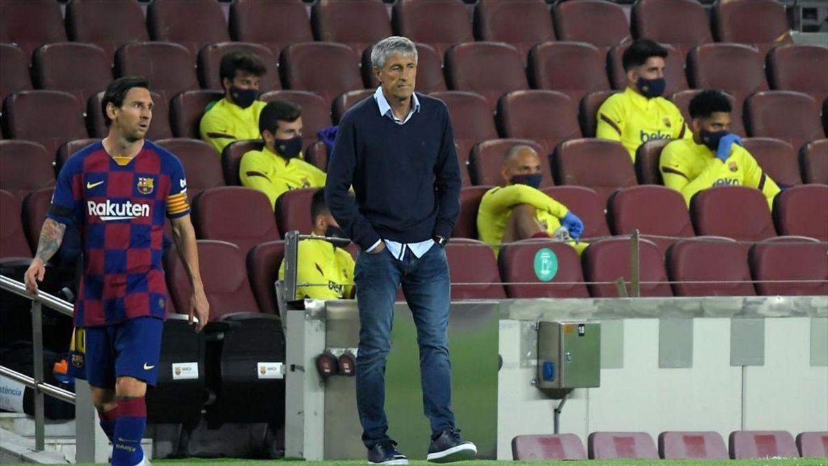 Quique Setien și Lionel Messi