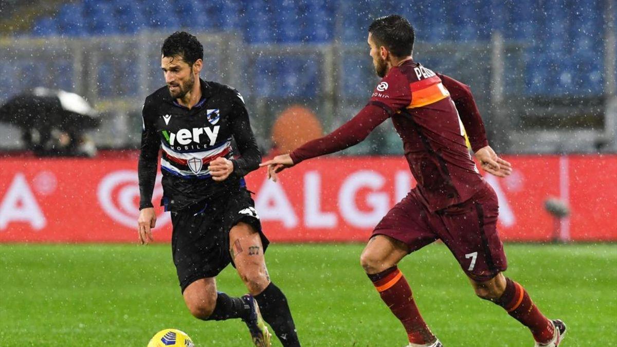 Antonio Candreva, Lorenzo Pellegrini - Roma-Sampdoria Serie A 2020-21