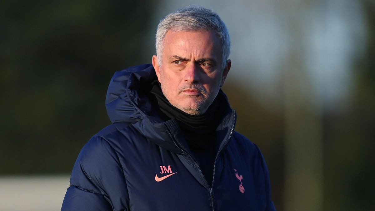 Jose Mourinho looks on in training