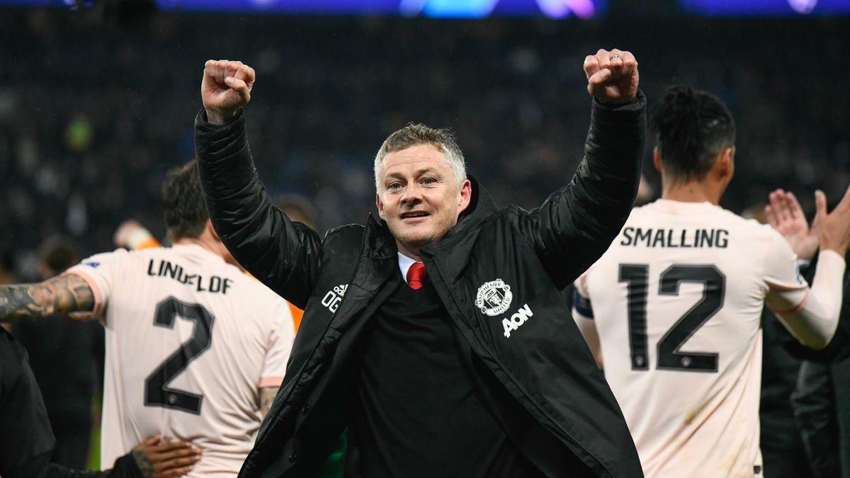Manchester head coach, Ole Gunnar Solskjaer celebrates the Champions League win over Paris Saint-Germain at Parc des Princes Stadium