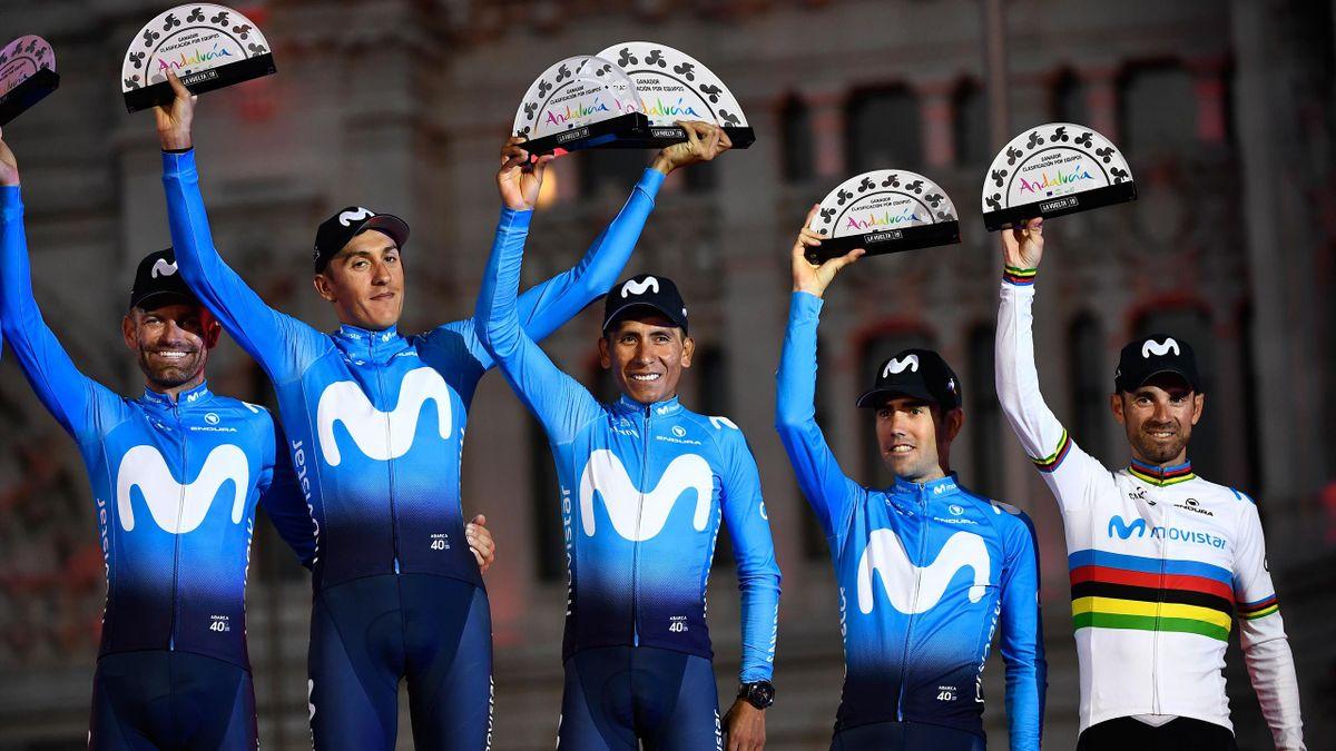 Movistar win the team classification of the 2019 Vuelta a Espana - Jose Joaquin Rojas, Marc Soler, Nairo Quintana, Antonio Pedrero, Alejandro Valverde