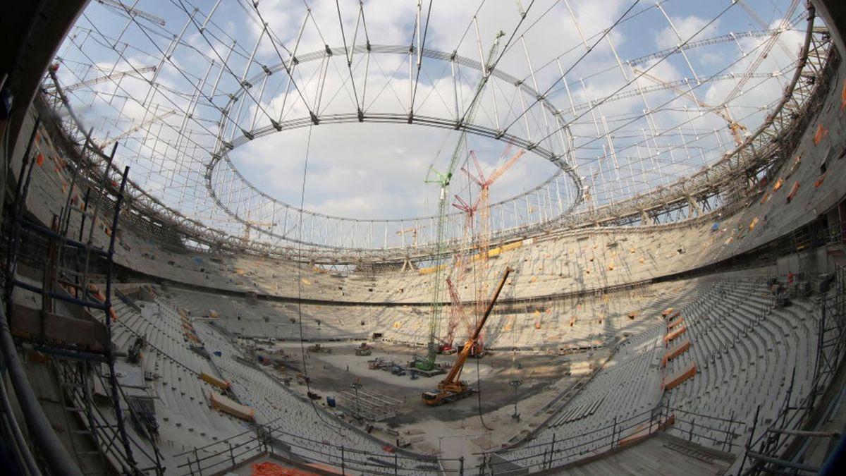 Das Lusail Stadium in Doha während der Bauphase