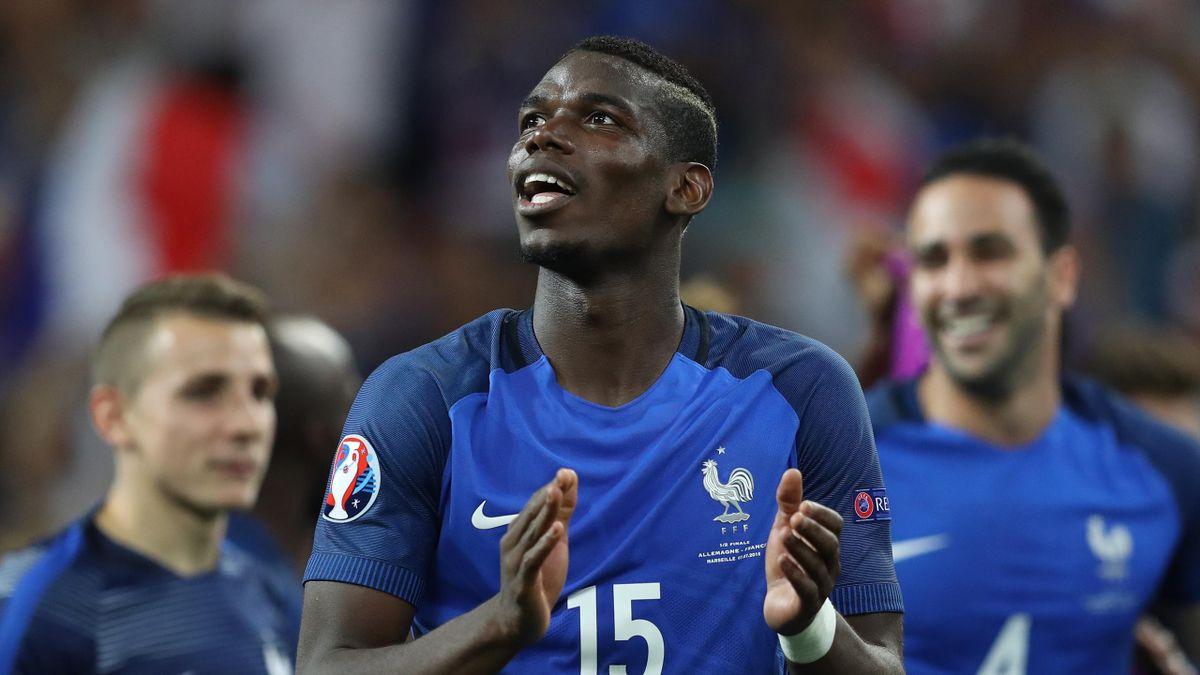 France's midfielder Paul Pogba celebrates after winning the Euro 2016 semi-final