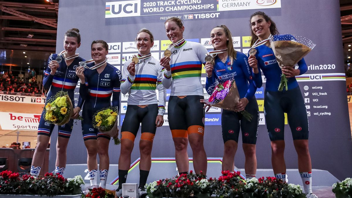 Silver medalist Clara Copponi and Marie Le Ne of France, Kirsten Wild and Amy Pieters of The Netherlands and Bronze medalists Letizia Paternoster and Elisa Balsamo of Italy pose on the podium after the women's 30km Madison final during day 4 of the UCI Tr