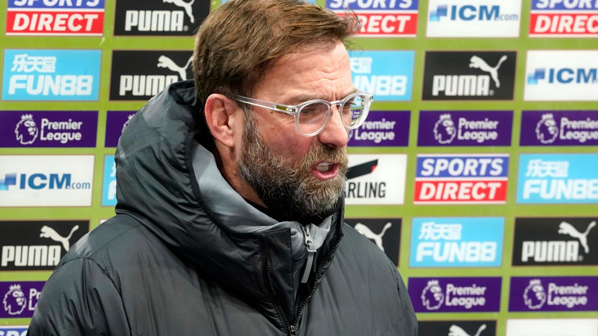 Liverpool's German manager Jurgen Klopp is interviewed before the English Premier League football match between Newcastle United and Liverpool