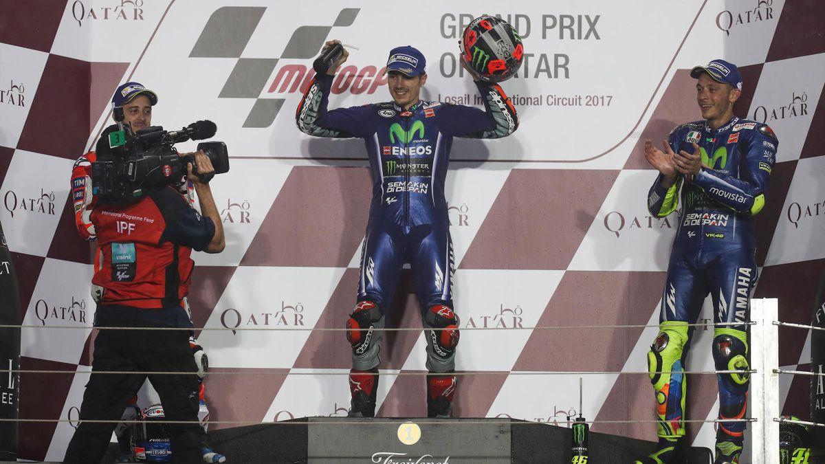 2017, Maverick Vinales, Andrea Dovizioso, Valentino Rossi, AFP