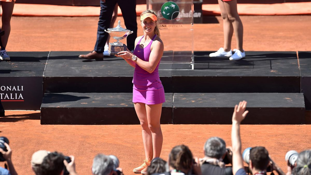 Elina Svitolina of Ukraine poses with the trophy after winning the WTA Singles Final match against Simona Halep of Roumania during The Internazionali BNL d'Italia 2017 - Day Eight at Foro Italico on May 21, 2017 in Rome, Italy.