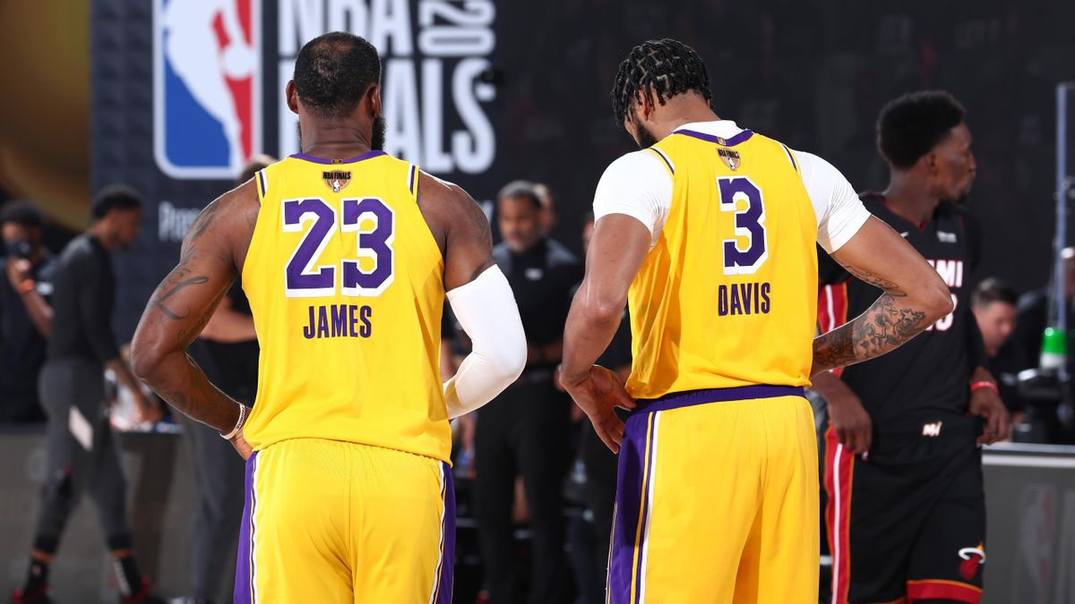 LeBron James #23 and Anthony Davis #3 of the Los Angeles Lakers looks on during Game Four of the NBA Finals on October 6, 2020 at AdventHealth Arena in Orlando, Florida