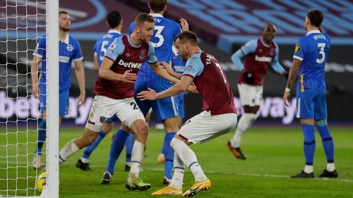 West Ham United's Czech midfielder Tomas Soucek (2nd L) celebrates with West Ham United's Ukrainian striker Andriy Yarmolenko after scoring their second goal during the English Premier League football match between West Ham United and Brighton