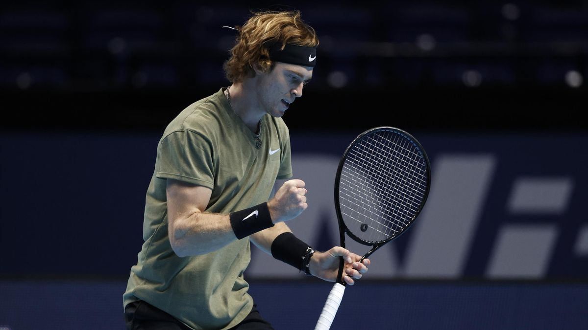 Andrey Rublev of Russia reacts during his match against Dominic Thiem of Austria on Day 5 of the Nitto ATP World Tour Finals at The O2 Arena on November 19, 2020 in London, England.