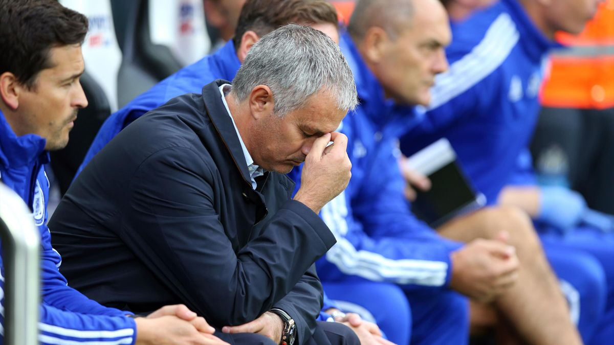 A despairing Jose Mourinho during Chelsea's draw at Newcastle