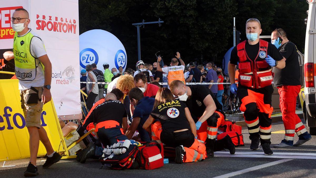 Fabio Jakobsen wurde nach seinem Sturz auf der ersten Etappe umgehend in ein Krankenhaus gebracht