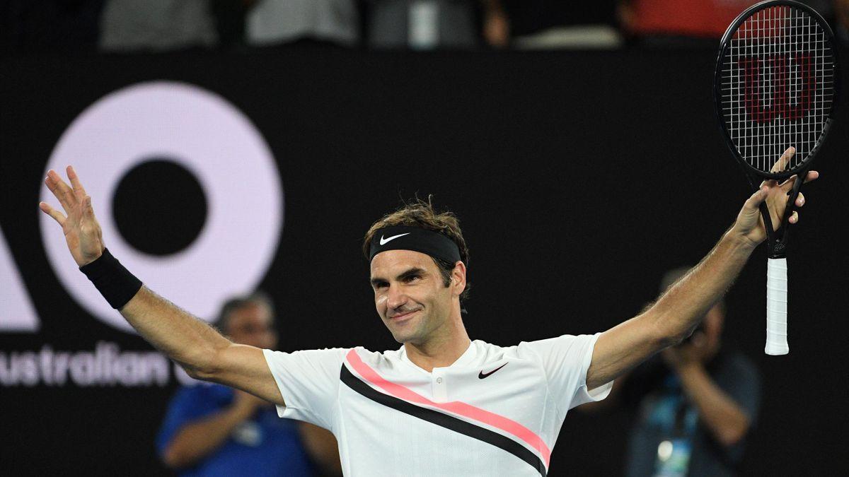 Roger Federer après sa victoire en quart de finale de l'Open d'Australie contre Tomas Berdych