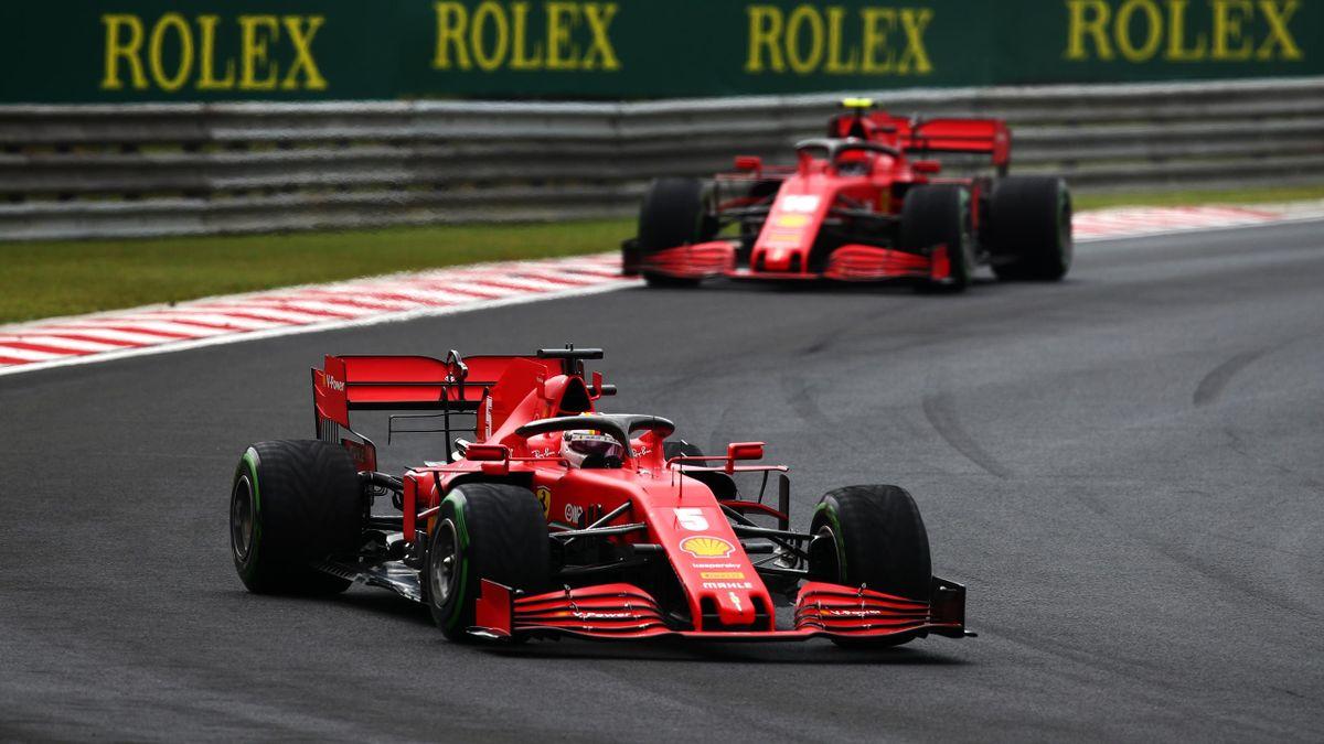 Die beiden Ferrari-Piloten Sebastian Vettel (vorne) und Charles Leclerc (hinten) beim Großen Preis von Ungarn