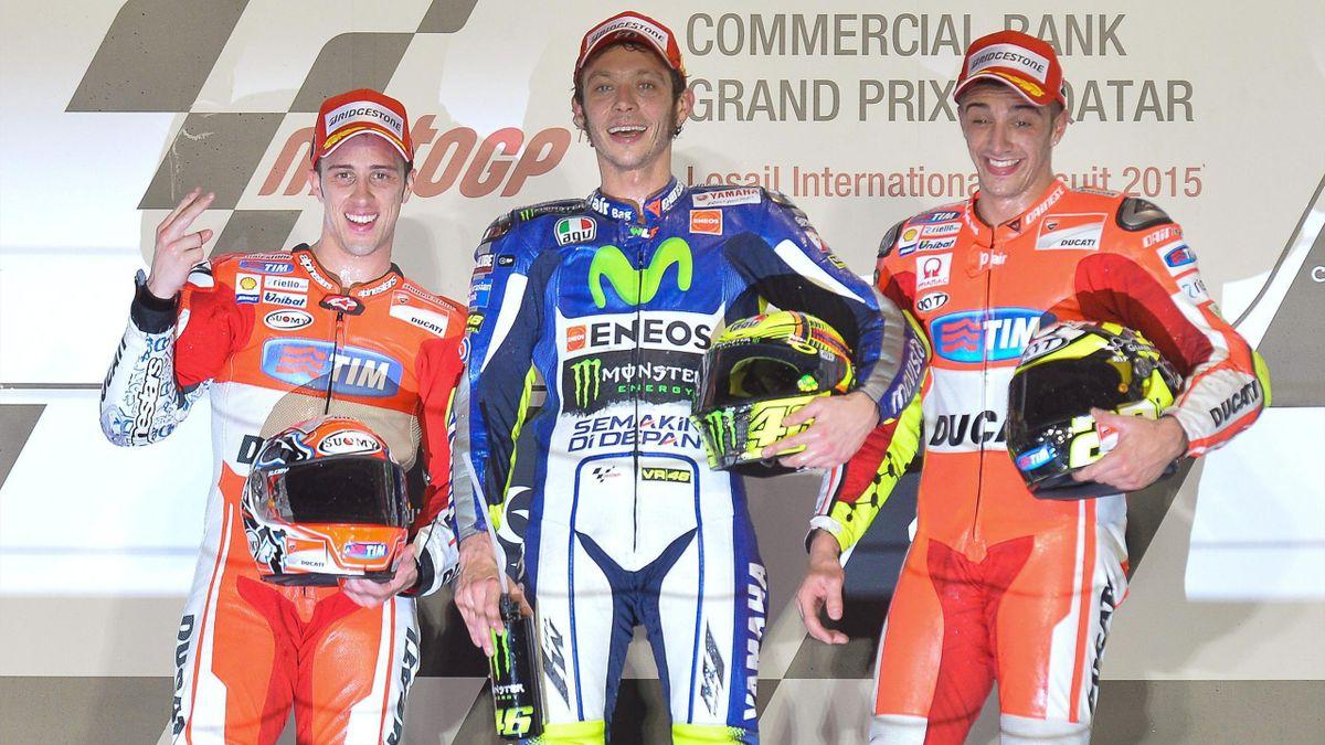 Dovizioso, Rossi y Iannone en el podio del GP de Catar