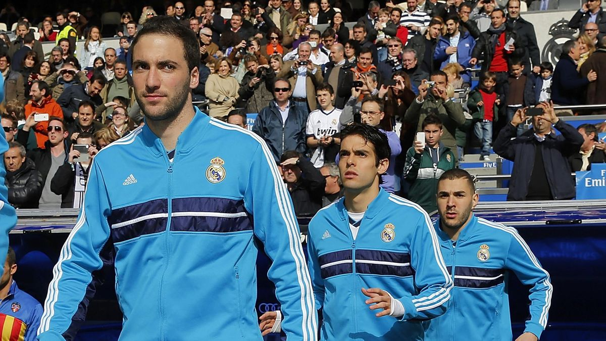 Игроки «Реала» Гонсало Игуаин, Кака и Карим Бензема в сезоне-2012/13