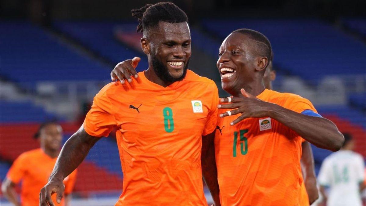 L'esultanza di Franck Kessié dopo il gol in Costa d'Avorio-Arabia Saudita - Tokyo 2020