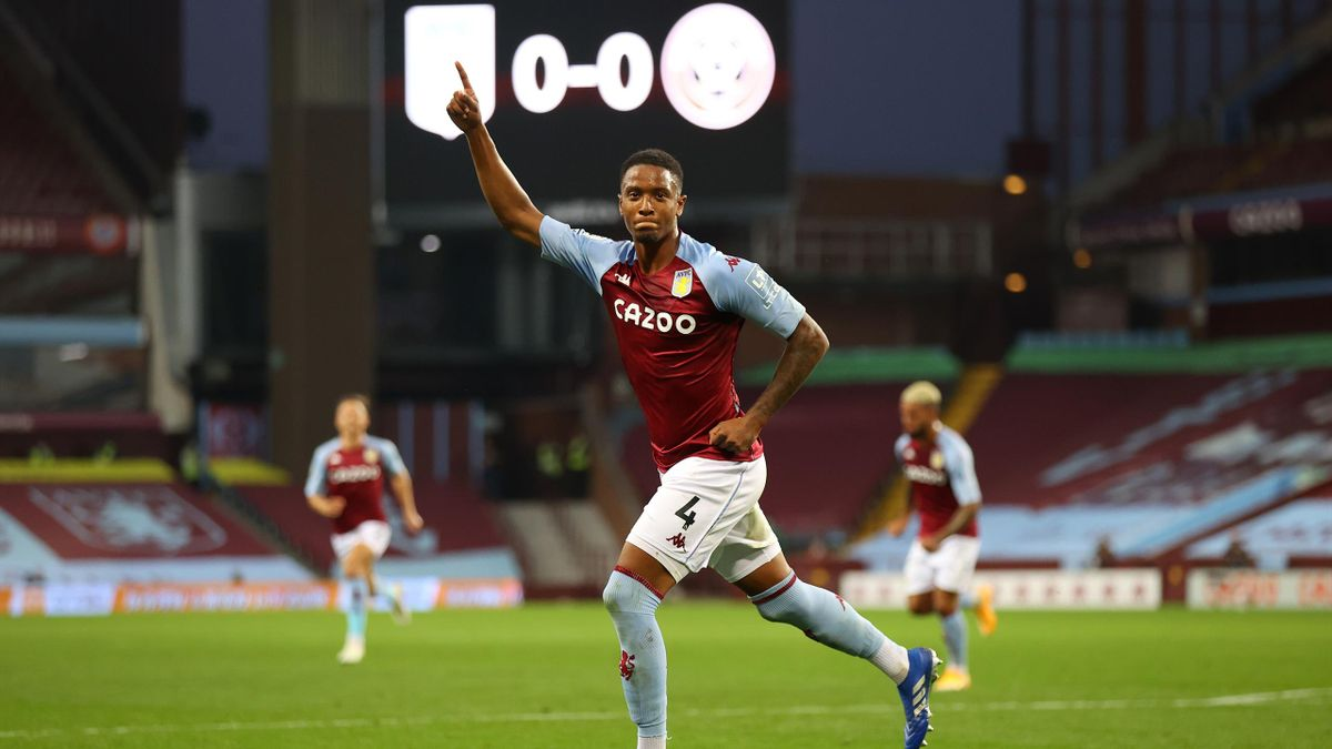 Ezri Konsa Ngoyo of Aston Villa celebrates