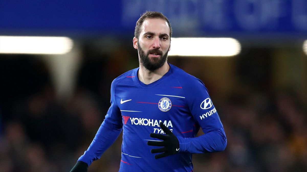 Gonzalo Higuain of Chelsea looks on during the FA Cup Fourth Round match between Chelsea and Sheffield Wednesday at Stamford Bridge on January 27, 2019 in London, United Kingdom