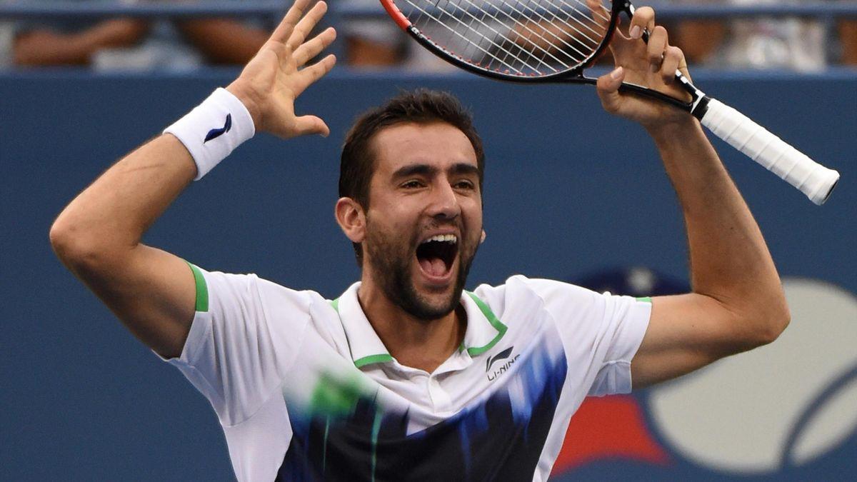 Marin Cilic célébrant sa victoire sur Roger Federer - US OPEN 2014