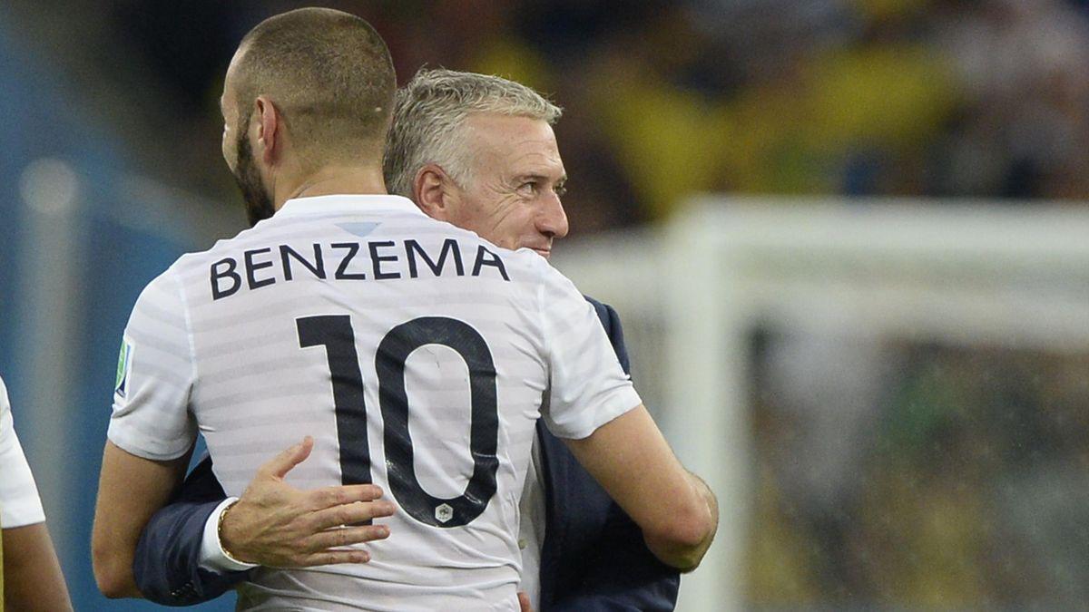 Didier Deschamps et Karim Benzema lors du Mondial 2014