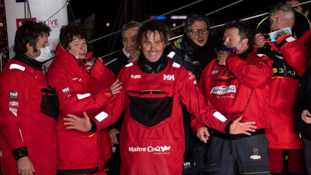 Yannick Bestaven (Maïtre CoQ IV) à l'arrivée aux Sables-d'Olonne le 28 janvier 2021