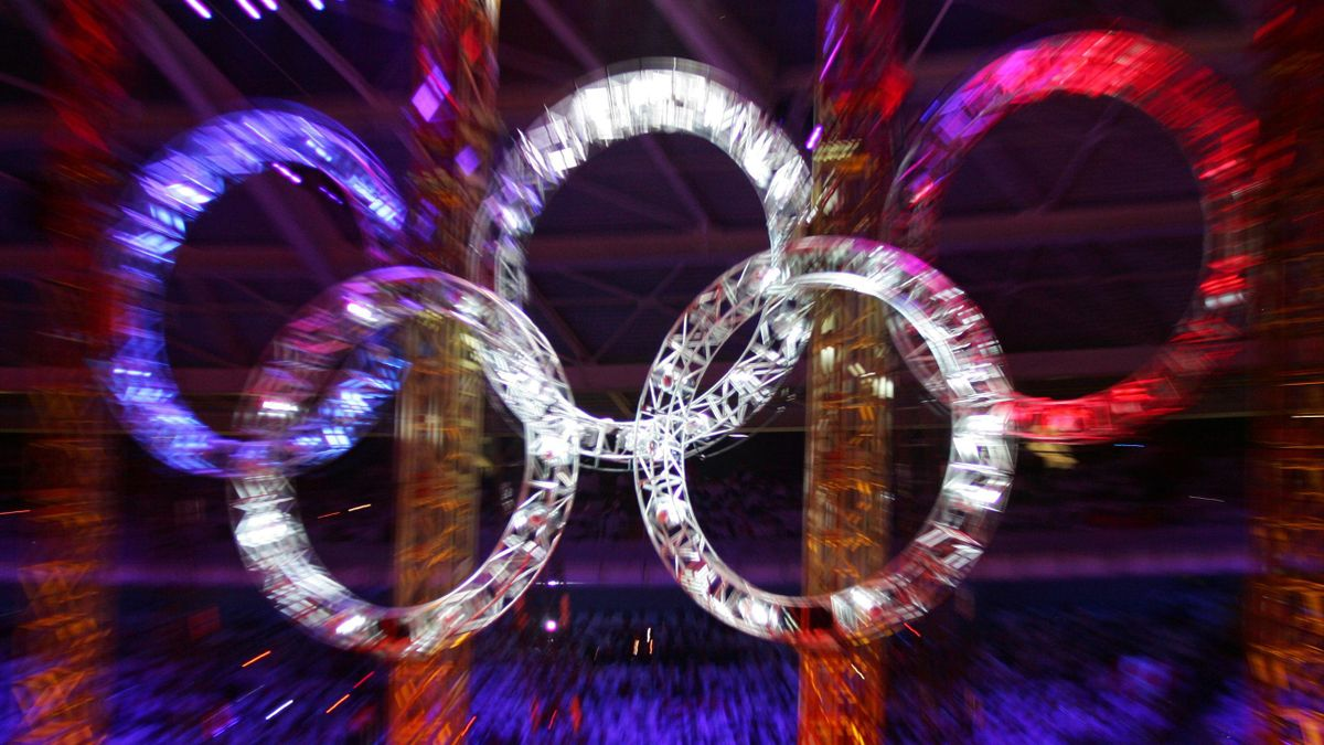 A view of the Olympic rings during the opening ceremony of the 2006 Winter Olympics at the 35,000-seater Stadio Olimpico