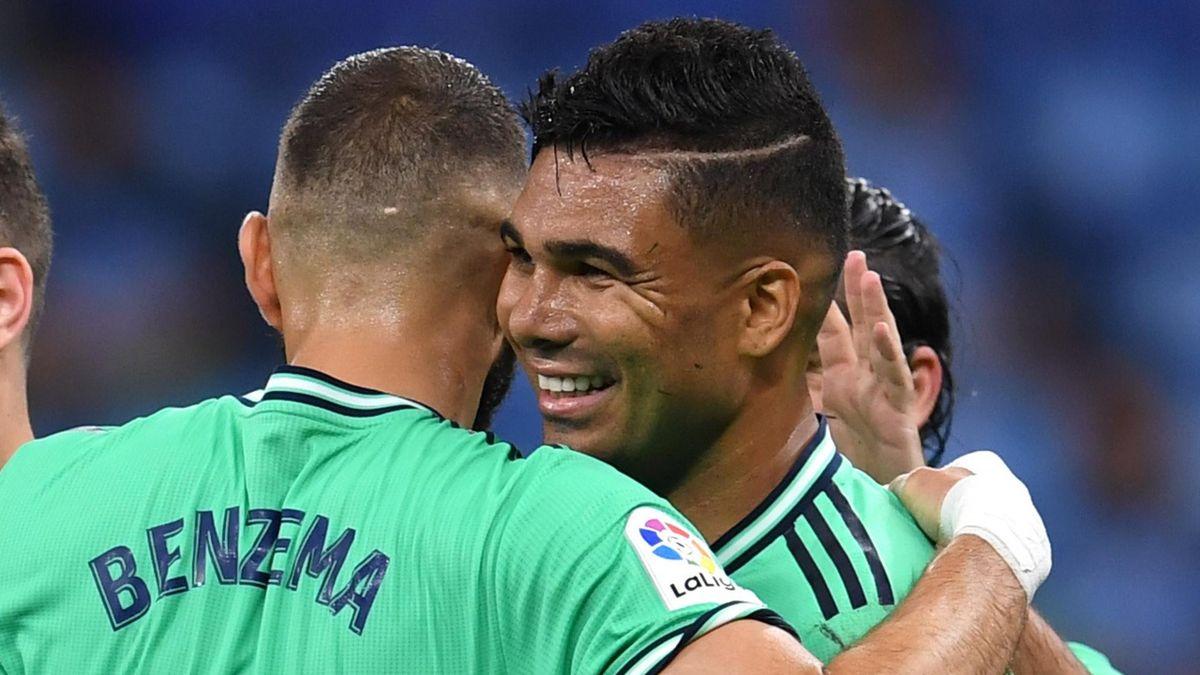 Real Madrid's Casemiro celebrates scoring against Espanyol.