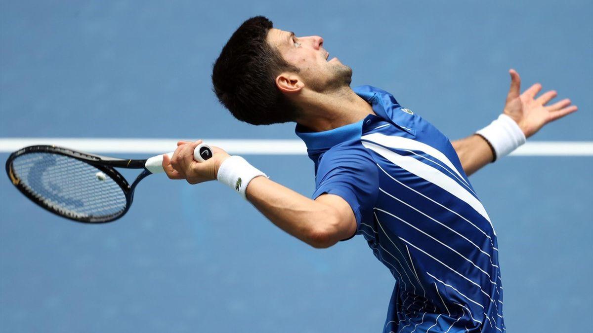 Novak Djokovic in actie in New York