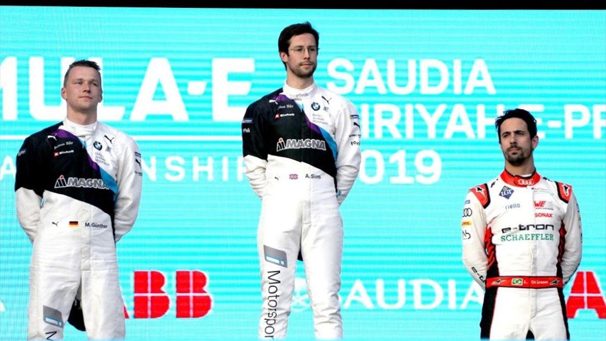 Alexander Sims, Lucas di Grassi et Maximilian Gunther sur le podium de la Course 2 du ePrix de Diriyah 2019
