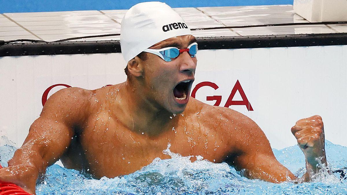 Ahmed Hafnaoui of Team Tunisia celebrates