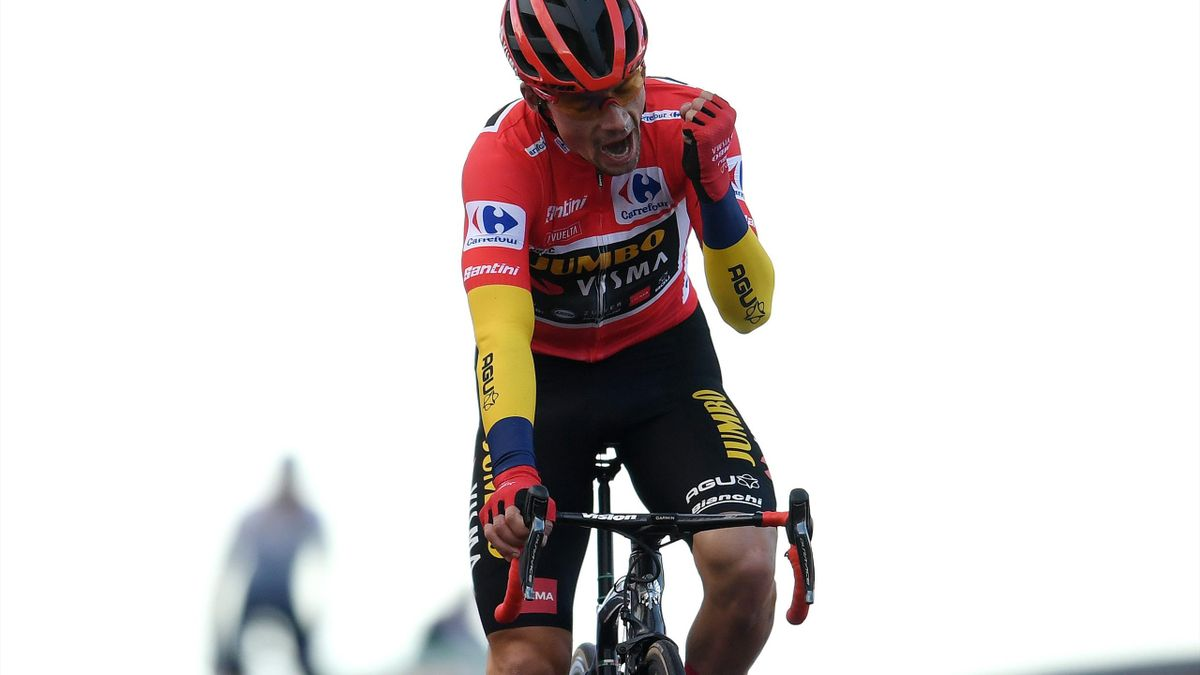 Primoz Roglic of Slovenia and Team Jumbo - Visma Red Leader Jersey / Celebration / during the 75th Tour of Spain 2020, Stage 17 a 178,2km stage from Sequeros to Alto de la Covatilla-Sierra de Béjar 1965m / @lavuelta / #LaVuelta20 / La Vuelta