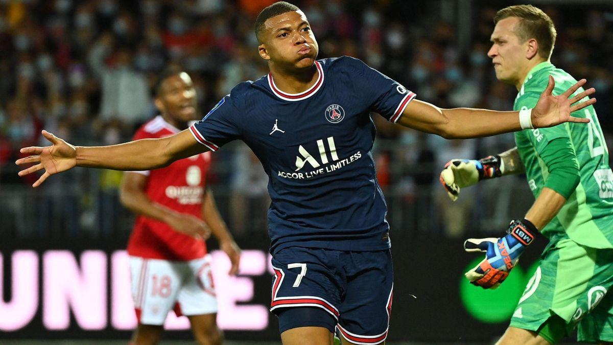 Kylian Mbappé (PSG) a marcat primul său gol în sezonul 2021-2022 pe terenul lui Brest
