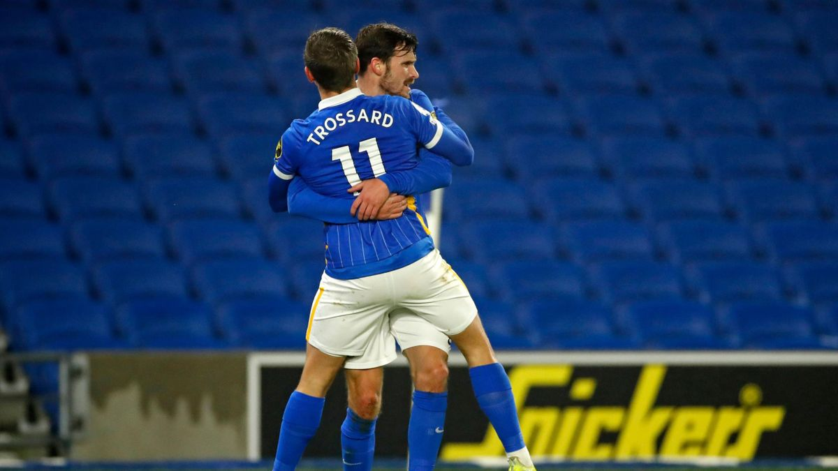 Brighton's Belgian midfielder Leandro Trossard (L) celebrates with Brighton's German midfielder Pascal Gross (R) after scoring the opening goal of the English Premier League football match between Brighton and Tottenham Hotspur