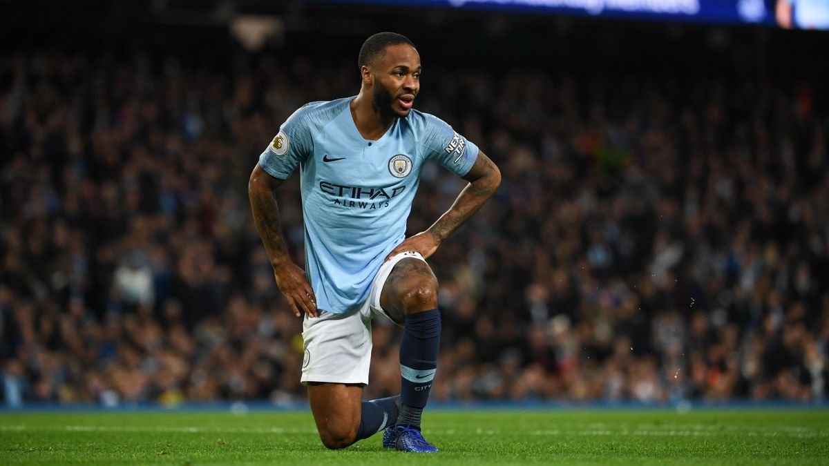 Manchester City's English midfielder Raheem Sterling reacts