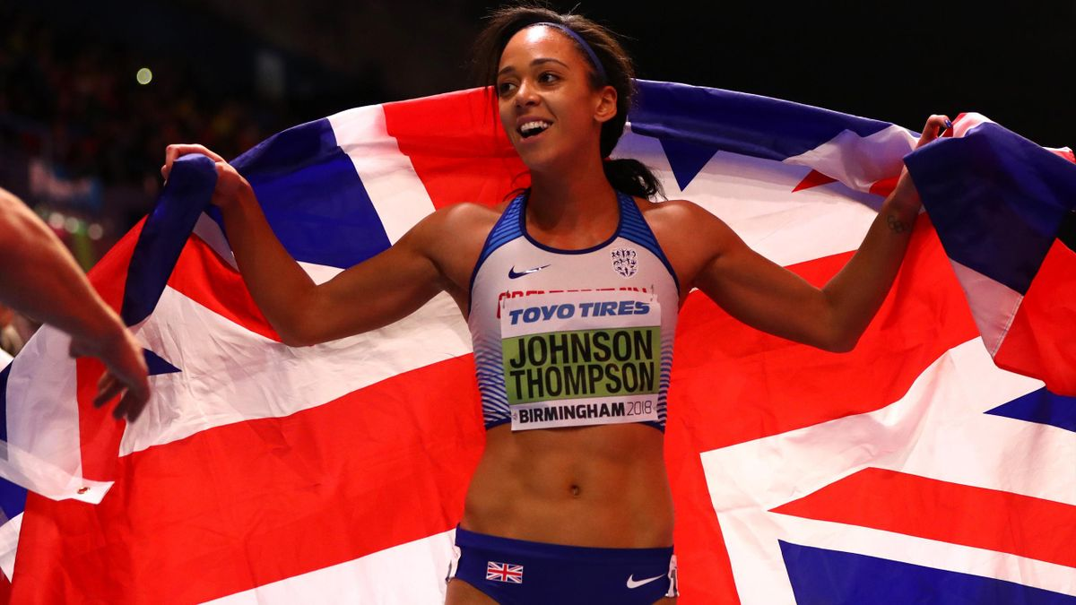 Katarina Johnson-Thompson of Great Britain reacts after winning the 800 Metres Womens Pentathlon during the IAAF World Indoor Championships on Day Two at Arena Birmingham on March 2,
