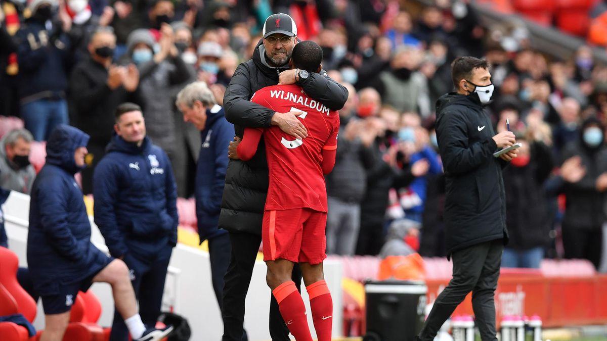 Georginio Wijnaldum hugs Jurgen Klopp, Liverpool v Crystal Palace, Premier League, Anfield, Liverpool, May23, 2021