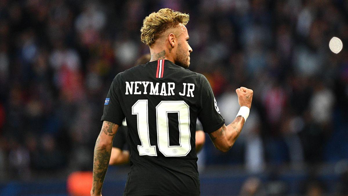 Paris Saint-Germain's Brazilian forward Neymar reacts after scoring during their UEFA Champions' League football match Paris Saint Germain (PSG) against Red Star Belgrade at the Parc des Princes stadium in Paris on October 3, 2018.