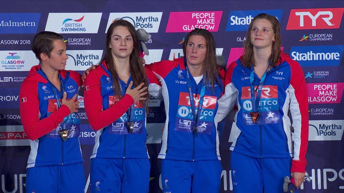 European Championship : podium 4 x 100m freestyle women