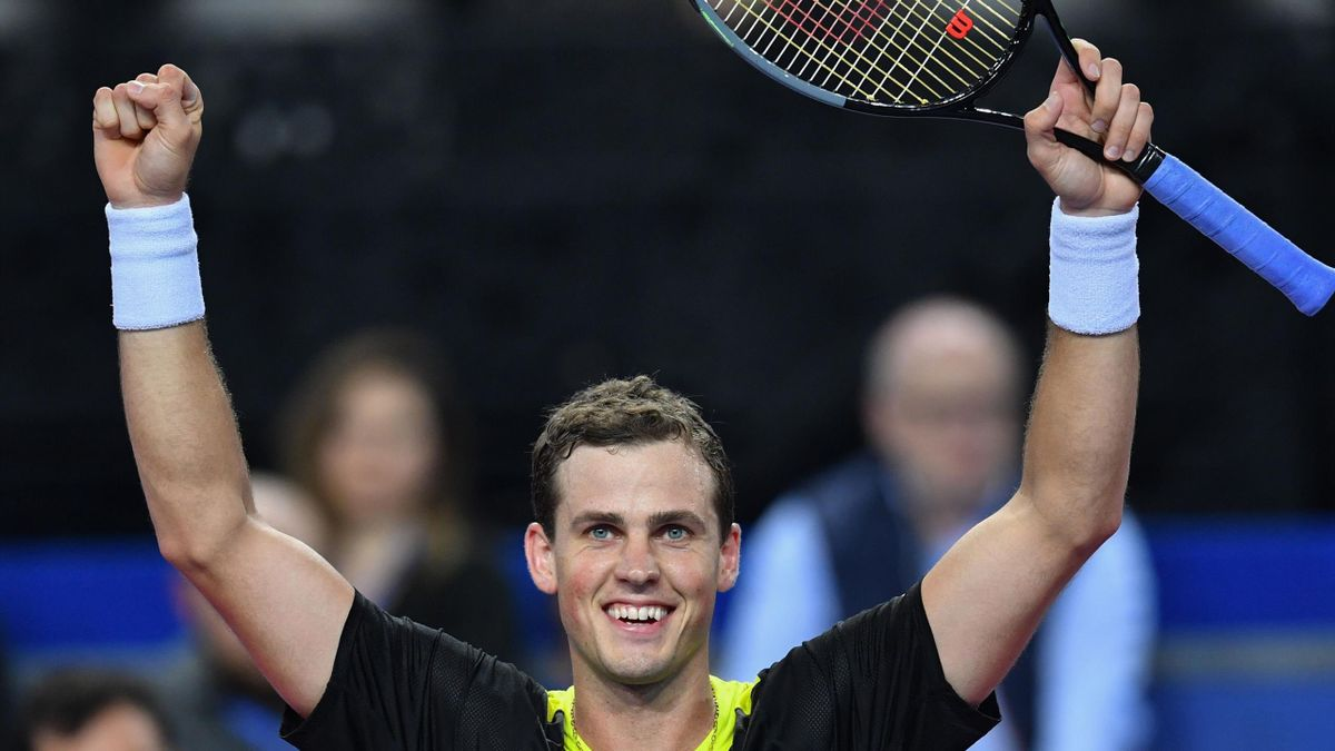 Canada's Vasek Pospisil reacts after winning his semi final tennis match against Belgium's David Goffin during the ATP World Tour Open Sud de France in Montpellier
