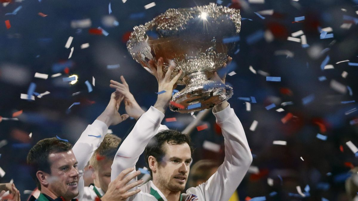 Great Britain's Andy Murray celebrates with the trophy after winning the Davis Cup