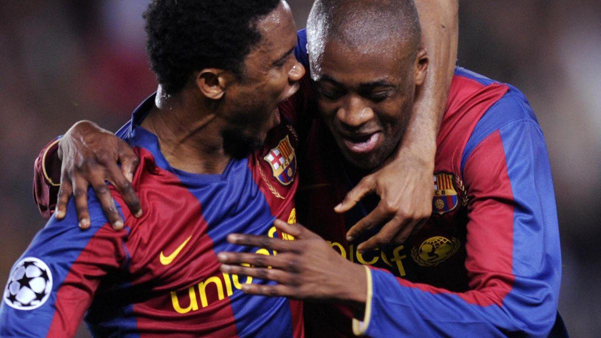 Samuel Eto'o et Yaya Touré sous le maillot du Barça en 2008.